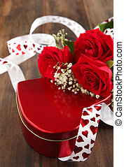 Valentines gift box and bouquet of roses