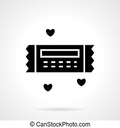 Valentines gift coupon black vector icon
