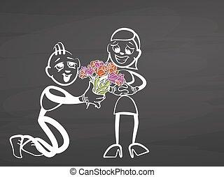 valentines, gift., stickman, képben látható, chalkboard.