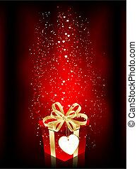 Valentines Day gift on sparkly background