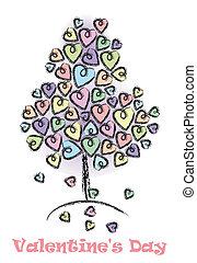 valentines, giorno albero, fondo