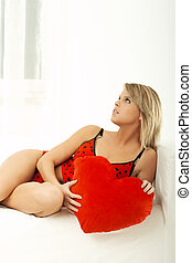 Valentine\\\'s Girl - Young beautiful woman with red heart...