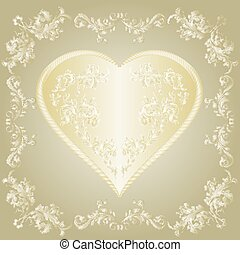 Valentines gold Heart and ornaments frame vector.eps