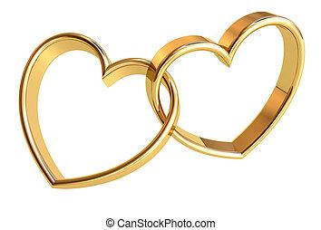 Love - Valentines golden hearts background. Power of Love