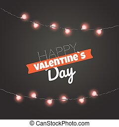 Valentines greeting card. Happy Valentines Day greeting card with garland