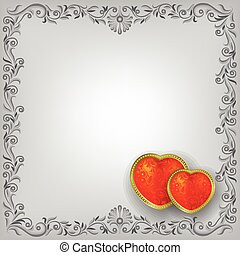 Valentines greeting with red hearts
