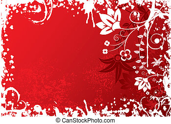 Valentines grunge background with flowers and hearts, vector illustration