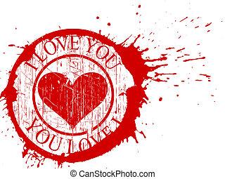 Valentines - grunge I love You background