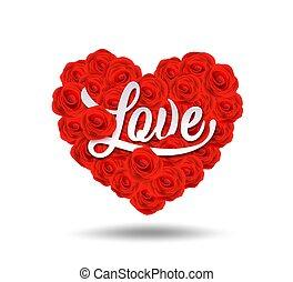 valentines, hart, vrolijke , vorm, dag, ontwerp, roos, liefde, boodschap