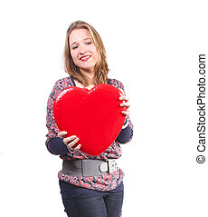 Valentine's heart in her hands