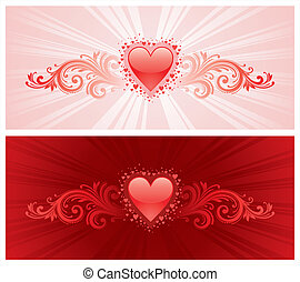 Valentines heart & ornamental decor - vector illustration