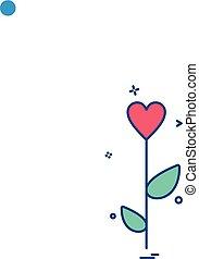 valentine's heart rose flower icon vector design