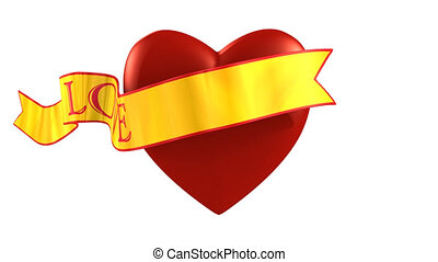 Valentines Heart witch Gold Ribbon