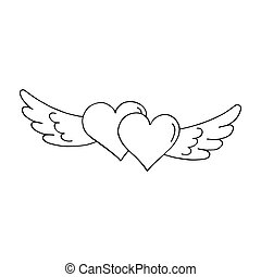 Valentines heart with wings. Outlined