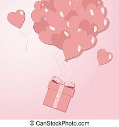Valentines hearts balloon with gift box postcard on pale pink background. Love and holiday symbols in shape of heart for Happy Women's, Mother's, Valentine's Day, birthday greeting card vector flat illustration