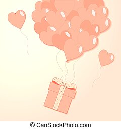 Valentines hearts balloon with gift box postcard on peach pink background. Love and holiday symbols in shape of heart for Happy Women's, Mother's, Valentine's Day, birthday greeting card vector flat illustration