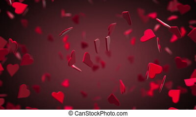 Valentines Hearts Flying 3D with Background