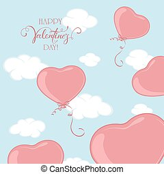 Valentines Hearts on Blue Sky Background