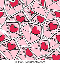 valentine`s hearts on envelopes seamless background