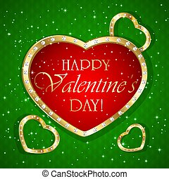 Valentines hearts on green background