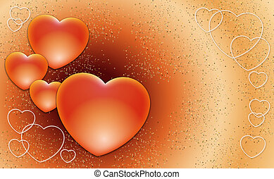 Valentines hearts - Many Valentines hearts on a red...