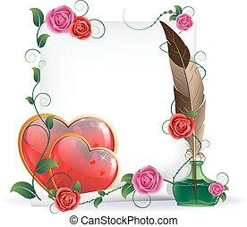 valentines, herzen, rosen, und, papier