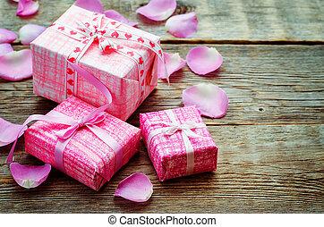 valentines, hintergrund, mit, geschenke