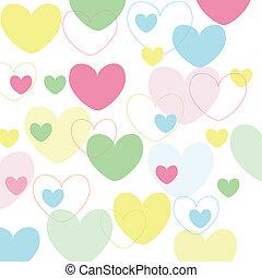 valentine\'s, hjärtan, tapet, ikonen