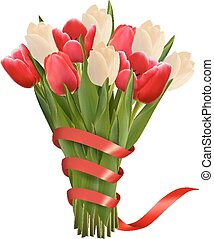 Valentine's holiday background with bouquet of pink flowers with bow and ribbon. Vector illustration.