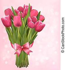 Valentine's holiday background with bouquet of pink flowers with bow and ribbon. Vector illustration