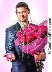 valentines, homem, com, flores
