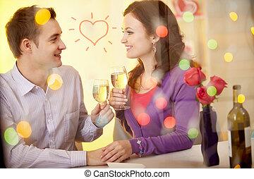 Valentines in restaurant