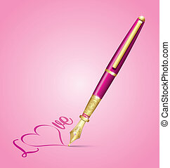Valentine's ink pen icon
