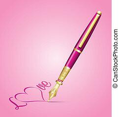 Valentine's ink pen icon