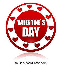 valentines, Jelkép, piros, karika, transzparens, Nap, piros