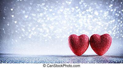 valentines, -, két, háttér, piros, fényes, ezüst, kártya