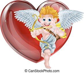valentines, karikatúra, ámor, nap
