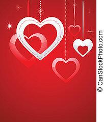valentines, karte, mit, herzen