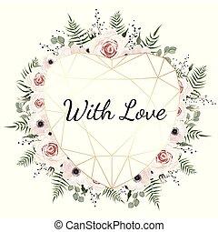 valentines, karte, weiß, hintergrund, mit, trending, polygonal, herz, und, frühjahrsblumen
