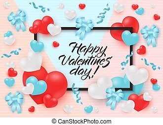 valentines, keret, körülvett, köszönés, vagy, ribbons., piros, transzparens, nap, kártya, boldog