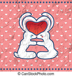 Valentine's kissing rabbits vintage card - Vintage crumpled...