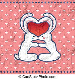 Valentine's kissing rabbits vintage card