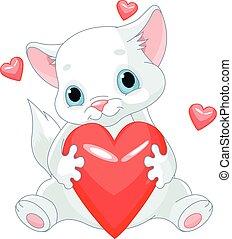Valentines kitten holds heart