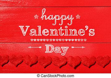 valentines, legno, messaggio, giorno, rosso, felice