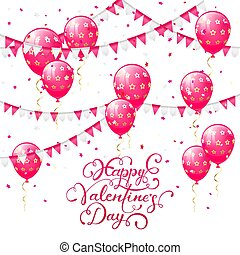 Valentines lettering with pink balloons and pennants