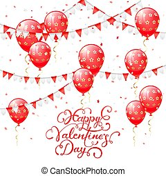 Valentines lettering with red balloons and pennants