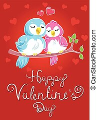 valentines, lieben vögel, karte