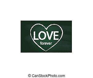 Valentines love heart on chalkboard logo