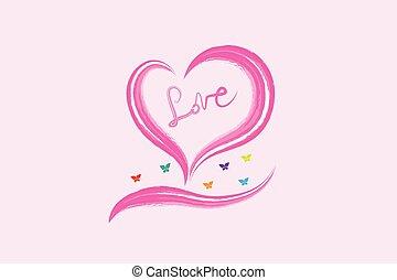 Valentines love heart watercolor logo