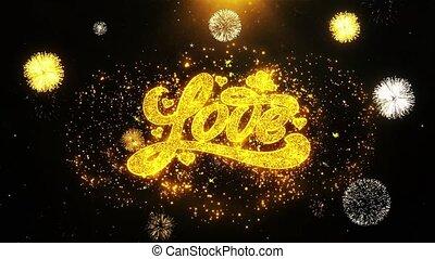 Valentines Love Wishes Greetings card, Invitation, Celebration Firework Looped